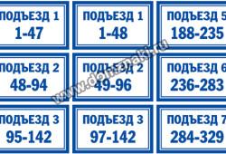 Таблички на подъезд / этаж / квартиру